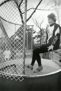 Preparing to be dunked at a Circle K fundraiser, April 1991.