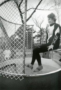 Preparing to be dunked at a Circle K fundraiser, April 1991.