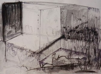 Alexis Roberts Keiner '02, Los Angeles, CAStages 4, 2017, Charcoal, pen on paper