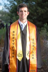David Andrews' stoles represent his work at The Writing Center as well as his accomplishments as a Boettcher Scholar.