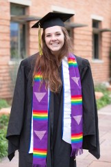 Ali Escalante wears stoles for Hillel and EQUAL, an LGBTQIA group on campus.
