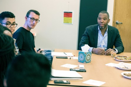 Ta-Nehisi Coates visited with a small group of students to answer questions and sign books before performing a reading for the public and then answering questions posed by Professor Michael Sawyer and members of the public March 28 in Kathryn Mohrman Theater. Coates discussed his work in journalism, his experience growing up in Baltimore and his work on Captain America and Black Panther. Photo by Jennifer Coombes