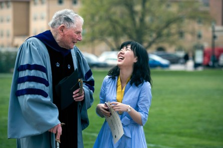 Bill Hochman congratulates Shiying Cheng '18 on receiving the Bill Hochman Prize on War, Violence and Human Values after the May 2, 2017 Honors Convocation. Photo by Jennifer Coombes