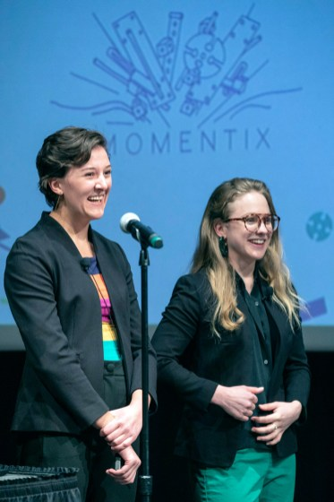 Pictured: Alana Aamodt '18 and Anna Gilbertson '19 Four teams competed in the final round of the Big Idea, a startup competition hosted by Innovation @ CC on Feb. 7m 2019 in Celeste Theater. The competing teams were SaFire, Advanced Water Sensing, Momentix and Infinite Chemistry. The teams competed for $25,000. First place went to Momentix while Advanced Water Sensing took second place.