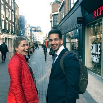 Casey Pollard '19 and Pranit Garg '19 blend in with the posh Londoners of Carnaby Street on their way to the international nonprofit Girl Effect.