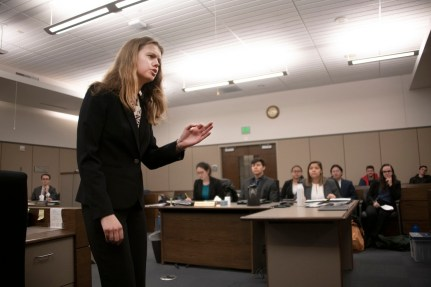 Emma Gorsuch, junior, delivers the opening statement for the defense during a mock trial practice on Tuesday, February 18, 2020 at the El Paso County Combined Courts. Colorado College hosts the regional mock trial tournament this weekend. (Photo by Katie Klann)