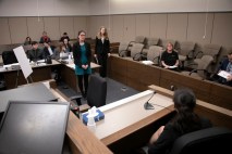 Mock trial practice on Tuesday, February 18, 2020 at the El Paso County Combined Courts. Colorado College hosts the regional mock trial tournament this weekend. (Photo by Katie Klann)
