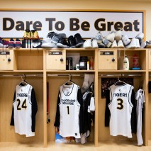 The new men's basketball uniforms hang in the locker room on Friday, February 7, 2020 at El Pomar Sports Center in Colorado Springs, Colorado. (Photo by Katie Klann)