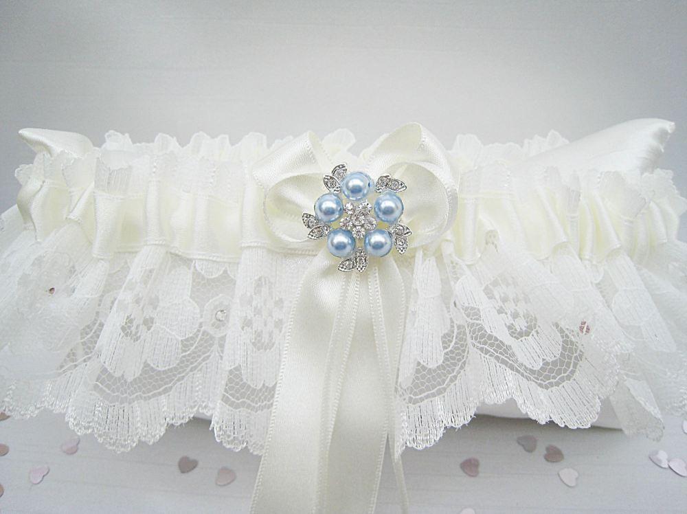 Blue Garter Belt, Wedding Dress Garter Handmade