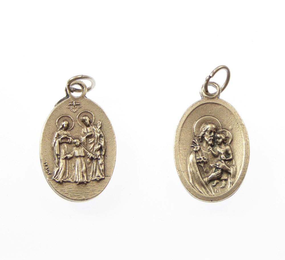 Silver Metal Holy Family And St Joseph Medal Pendant
