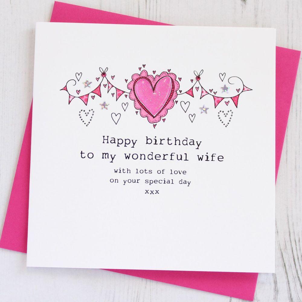 Handmade Happy Birthday Wife Card