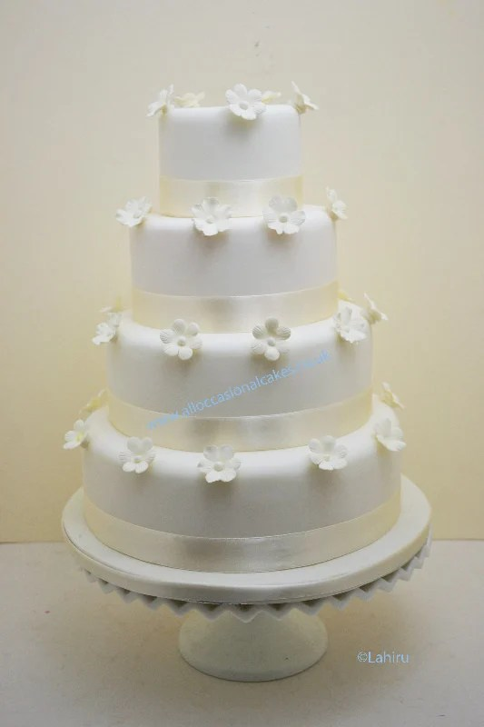 Cakes for all occasions  budget Wedding cakes  low priced wedding     Ivory Blossom Wedding Cake    4 tier from      290   bristol wedding cakes