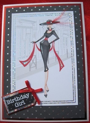 Stylish Birthday Girl With Hat And Feathers Handmade Card