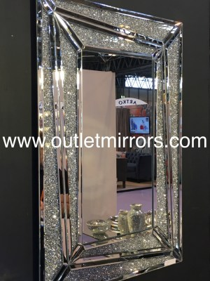 * New Diamond Crush Sparkle Marissa Wall Mirror 120cm x 80cm