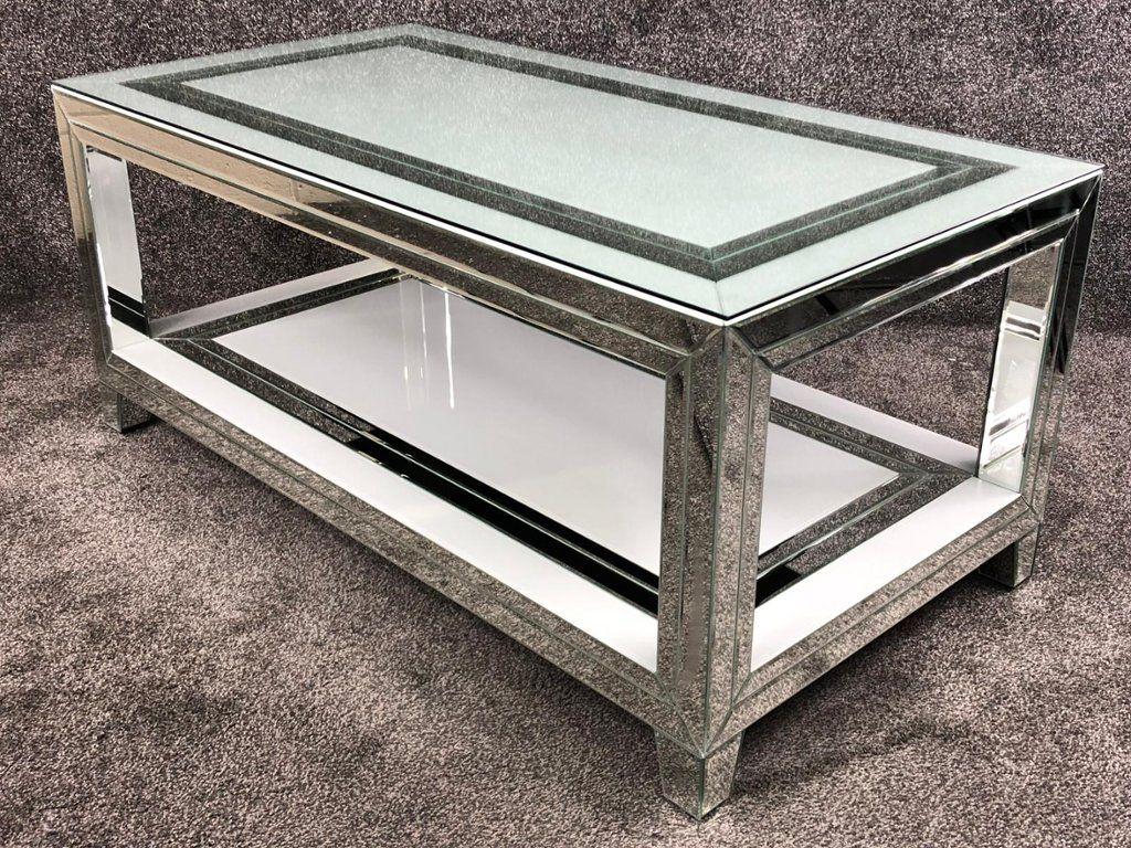 bianco white mirrored rectangular coffee table