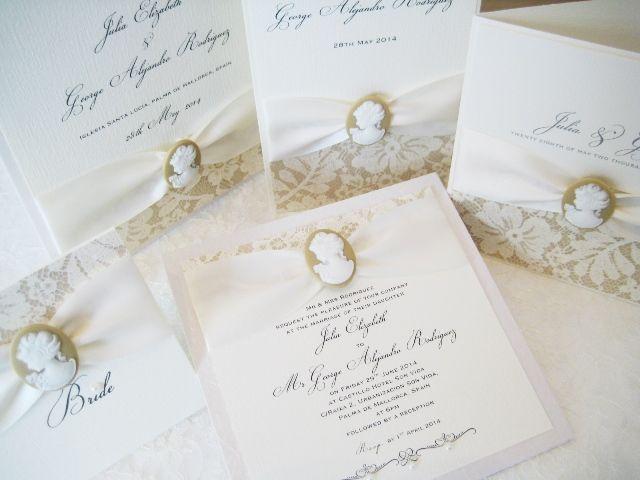 Unique Burlap Cameo Wedding Invitations