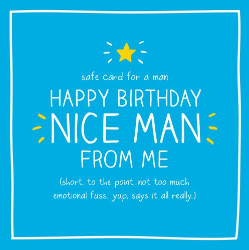 Quote Birthday Card For Men SAFE CARD FOR A MAN HAPPY