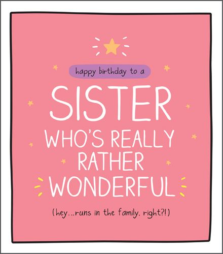 Funny Birthday Card For Sister Runs In The Family Right Sister Birthday Cards Happy Birthday Cards For Sister Wonderful Sister Card