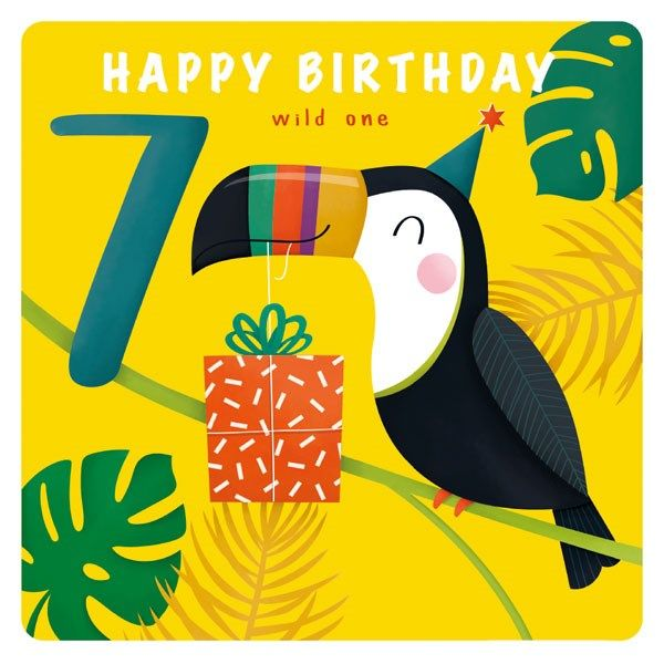 7th Birthday Cards Boy 7 Happy Birthday Wild One Cute Toucan Present Birthday Card 7th Birthday Card For Nephew Son Grandson Brother