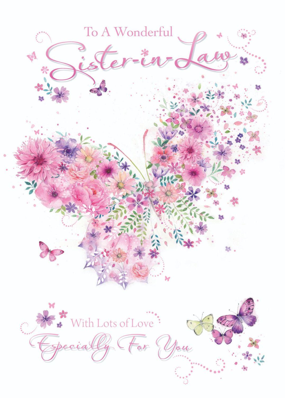 Wonderful Sister In Law Birthday Card Sent With Lots Of Love Sister In Law Birthday Cards Pretty Pink Butterfly Birthday Card Sister Birthday