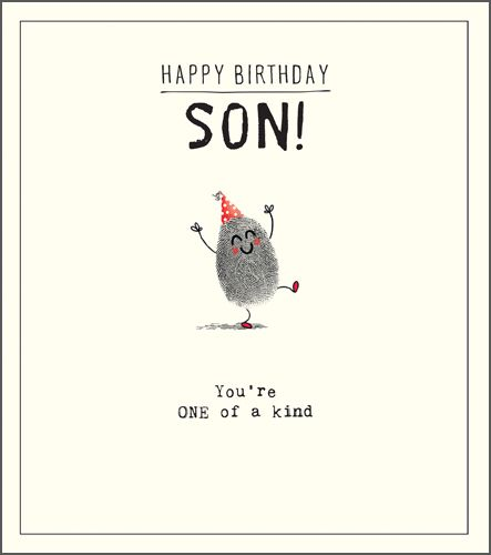 Funny Son Birthday Card You Re One Of A Kind Quirky Fingerprint Birthday Card For Him Son Birthday Cards Happy Birthday Son