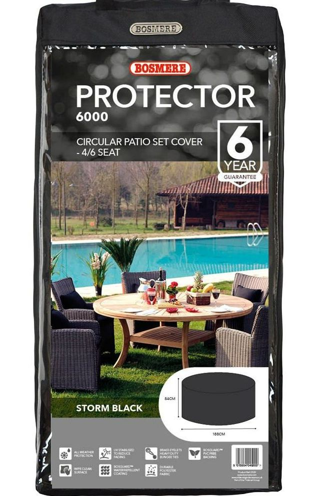 bosmere 4 to 6 seat circular patio set cover black polyester d520xl