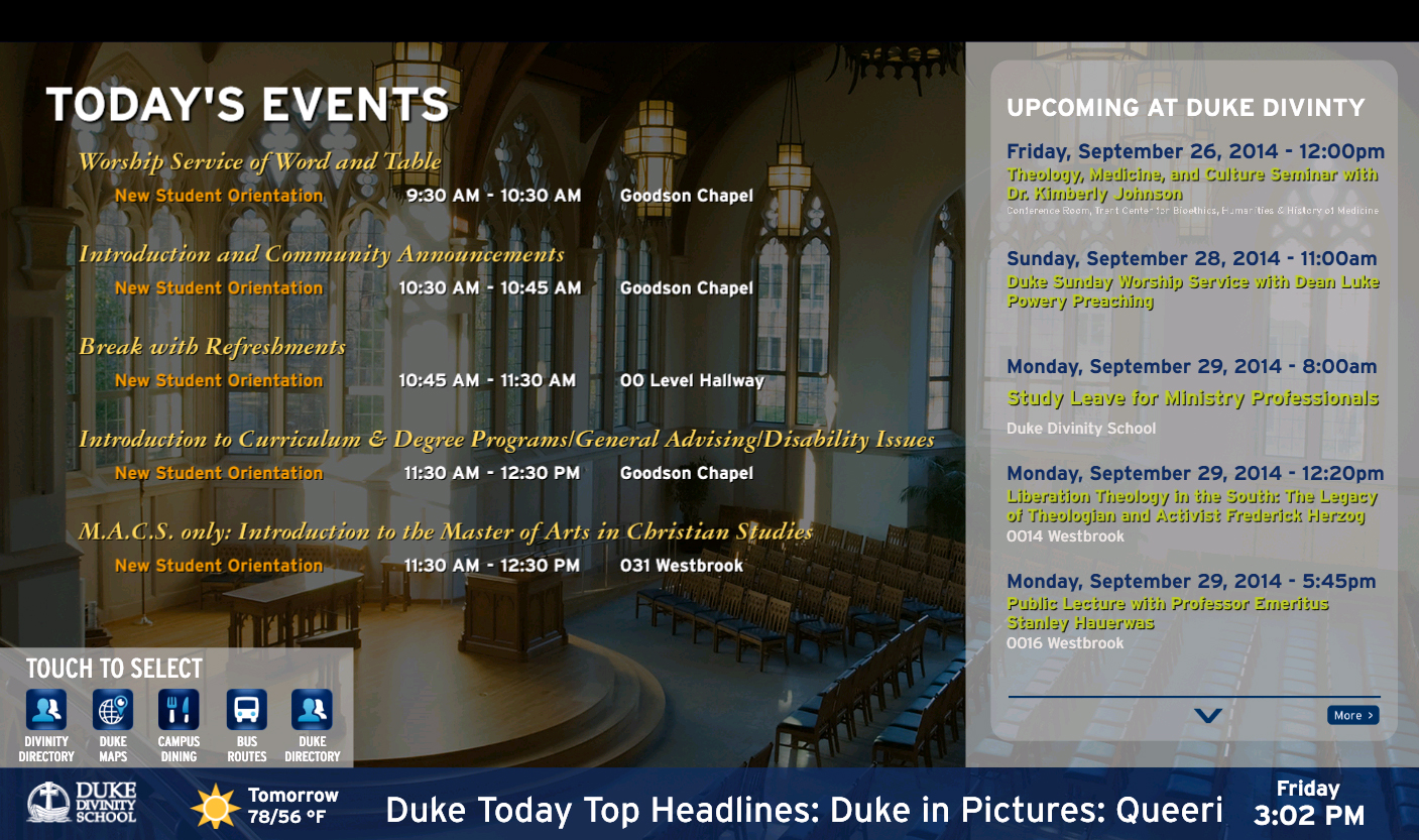 Digital Signage Multi Session Event Listing Divinity School IT