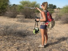Kendra Smyth in her field site in South Africa with meerkats. Photo2