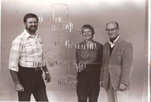 Prof. Strain, Dr. M. Darling, and Prof. Billings in 1980. Dr. Billings' Mobile of all his students, presented by Dr. M. Darling with smiling Prof Boyd Strain. Submitted by D. Richter 01/06/2010