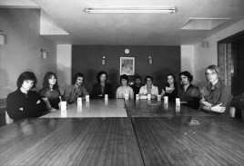 Photo by Mario 'Piccolo' Sillani Djerrahian. Edinburgh Arts Participants 1975, likely in the Hume Tower, Edinburgh University. L-R Jane Chisholm's Younger Sister, Jane Chisholm, David Jansheski, Charles Stephens, Unknown, Mario Sillani, Unknown, Unknown, Italian Participant, Yugoslav Participant