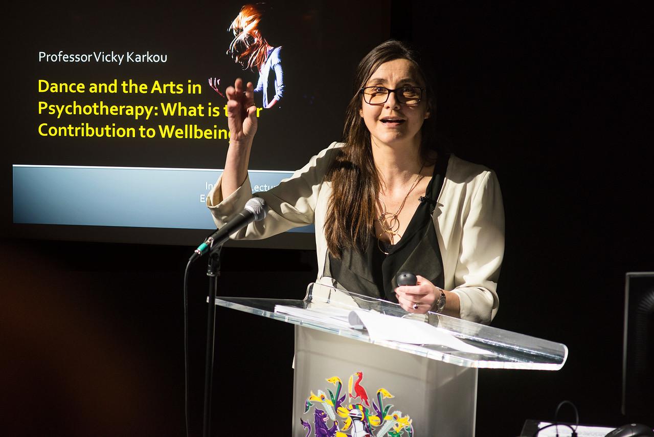 Vicky Karkou taking at Arts and Psychotherapy conference