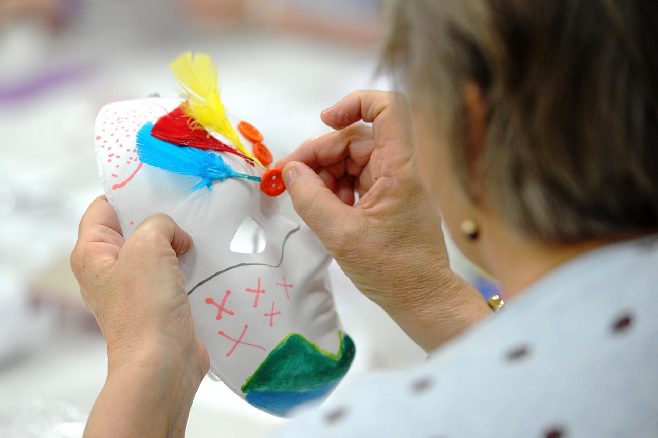 Mask making at Arts and Psychotherapy conference