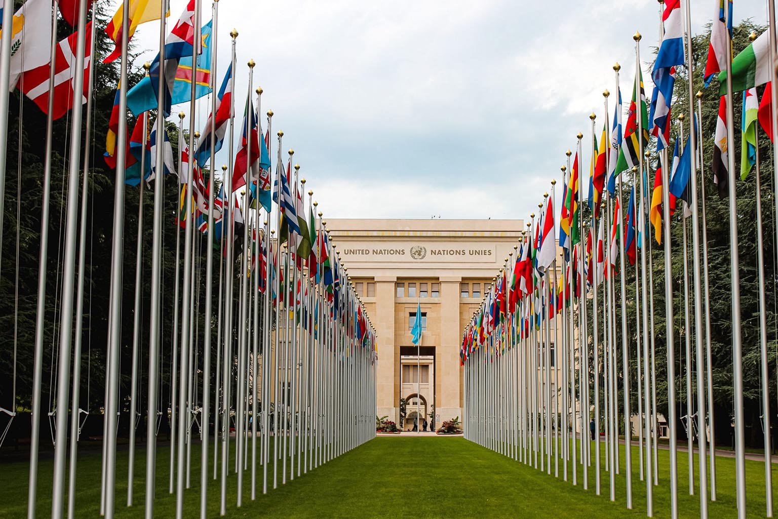 Countries flags leading up to the United Nations building in Geneva