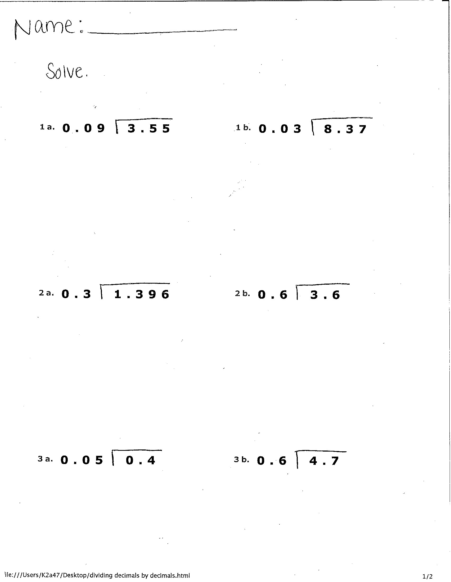 6th Grade Math Worksheets Multiplying And Dividing Decimals