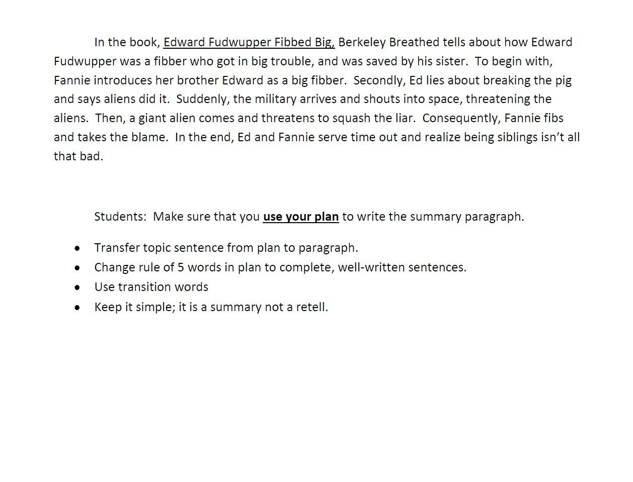 Sample Summary Paragraph
