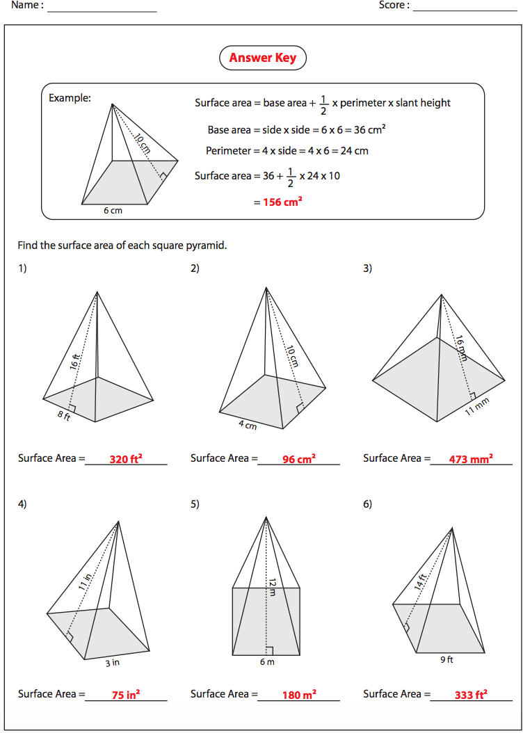 Surface Area Of Square Pyramids Answers Nms Self Paced Math