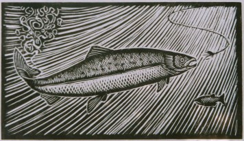 """""""Salmon Rising,"""" Wood Engraving by Paul Gentry"""