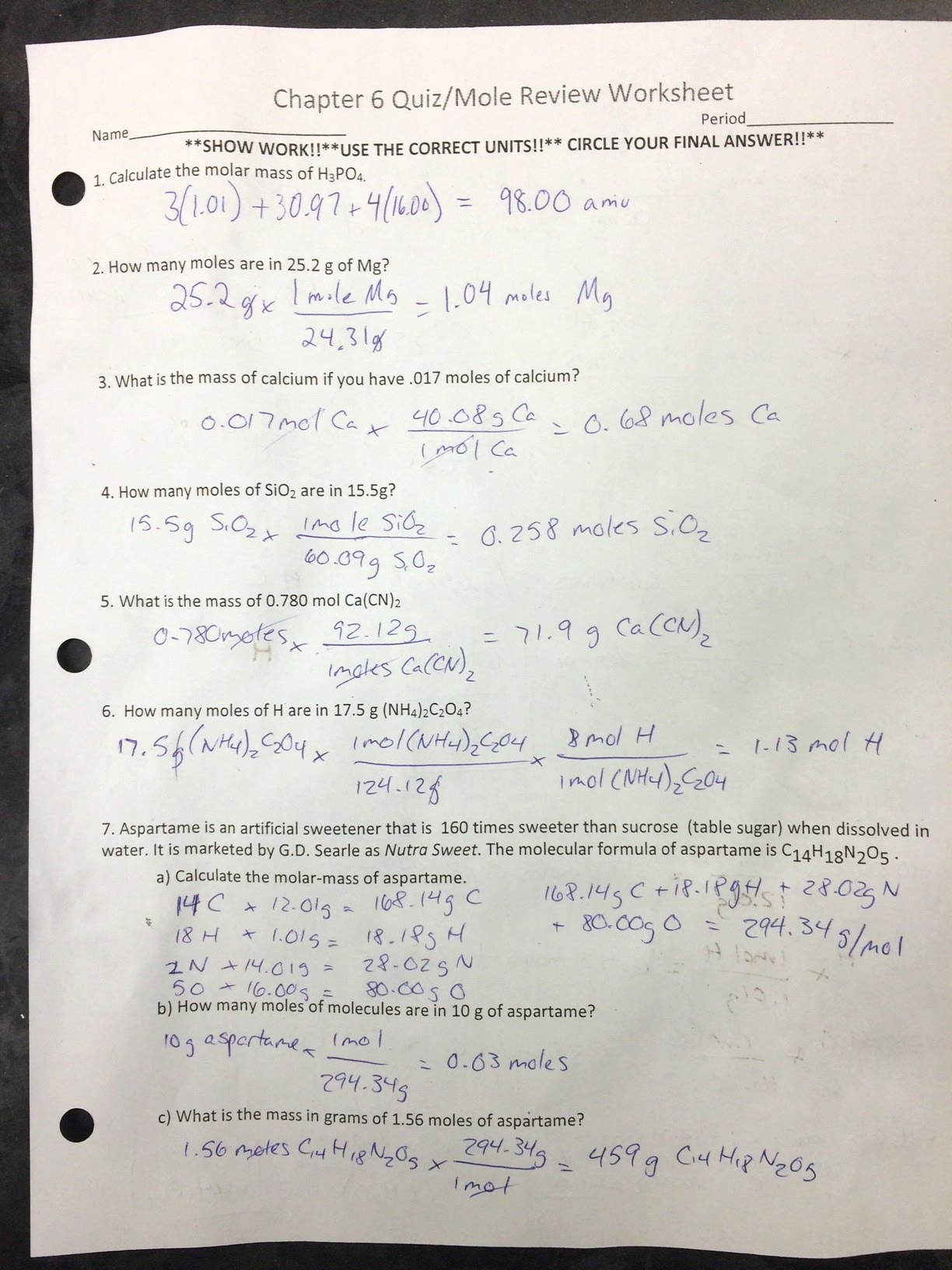 Answers To Chapter 6 Test Review