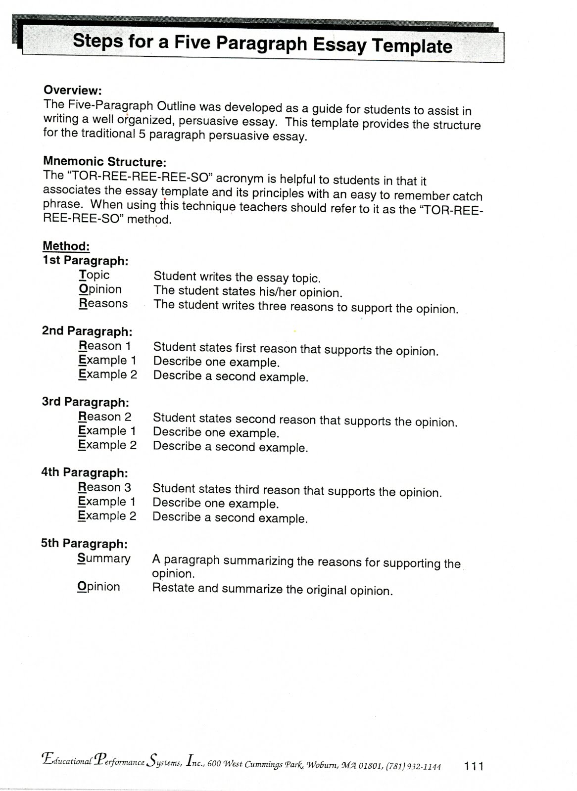 3 Paragraph Essay 3rd Grade
