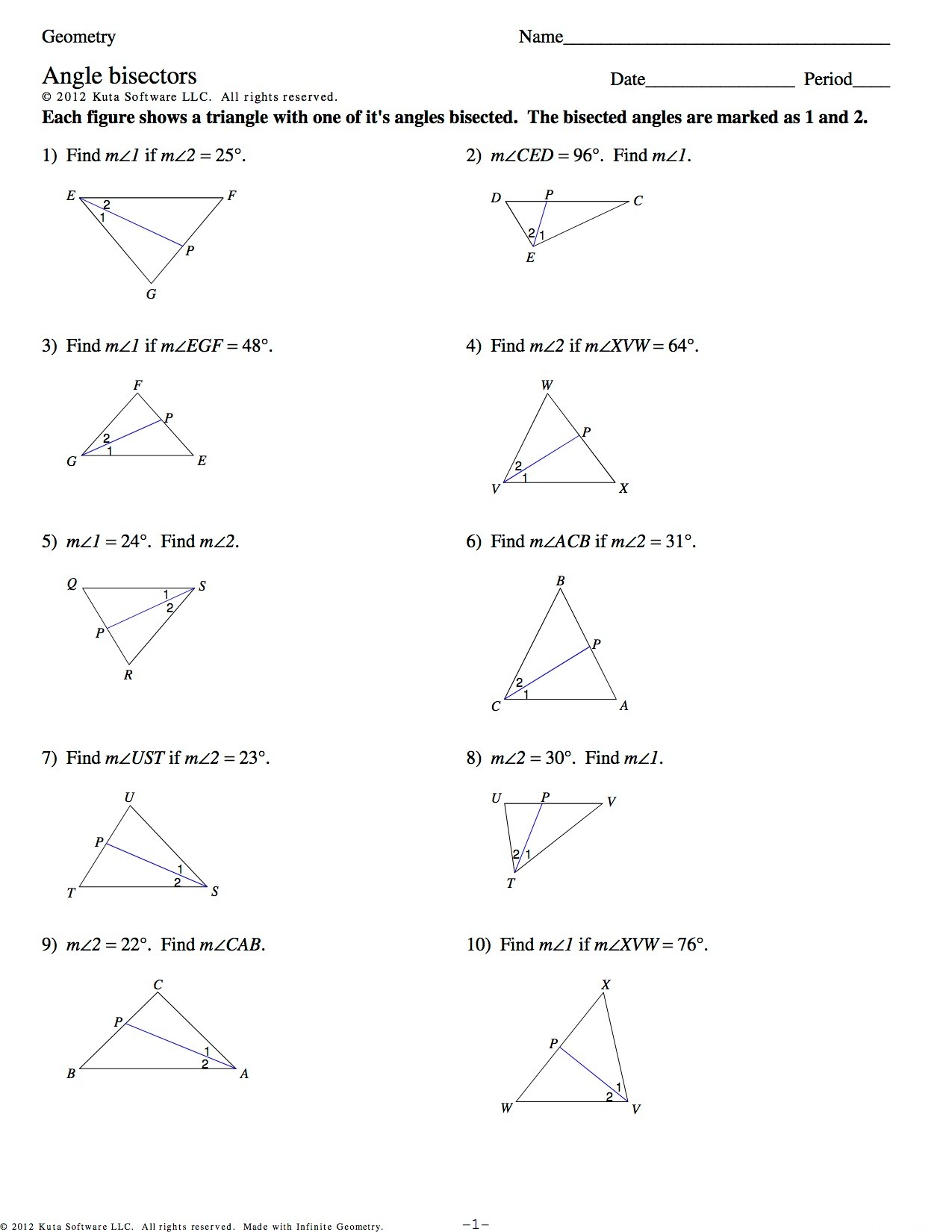 Kuta Worksheet On Angles