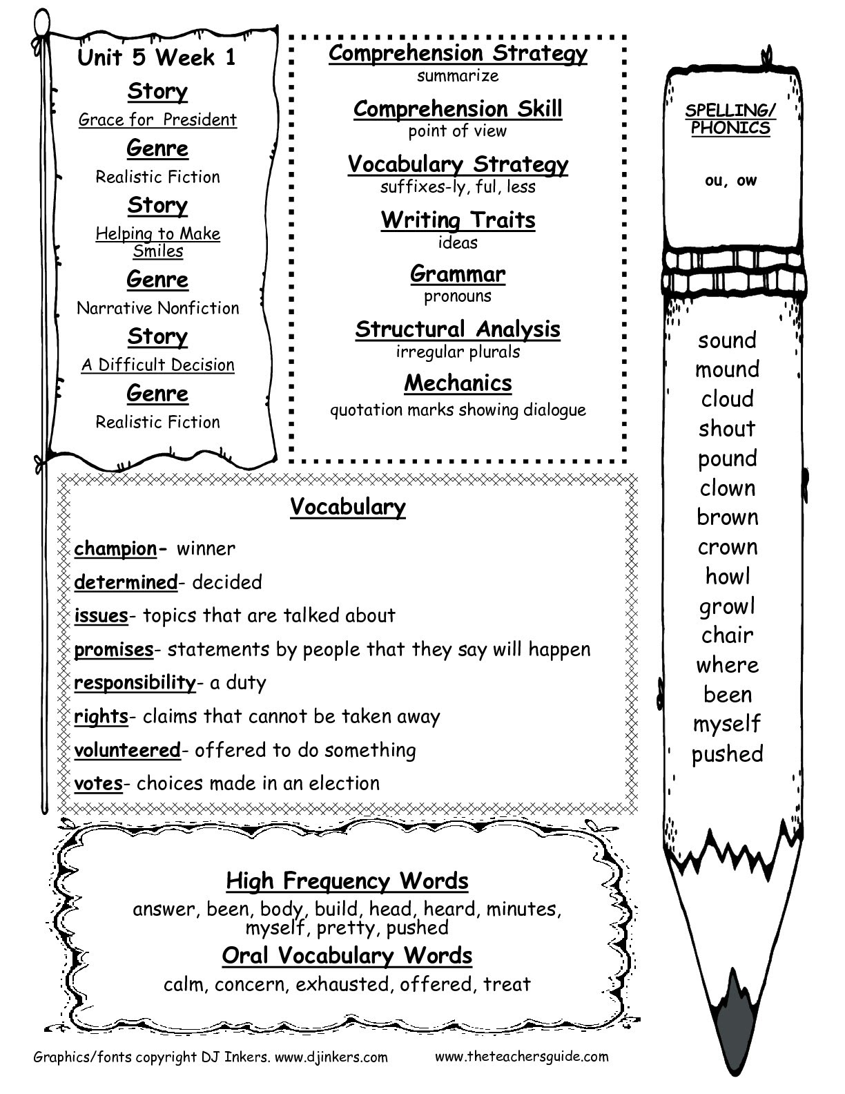Spelling And Vocabulary Words For The Week Of March 9