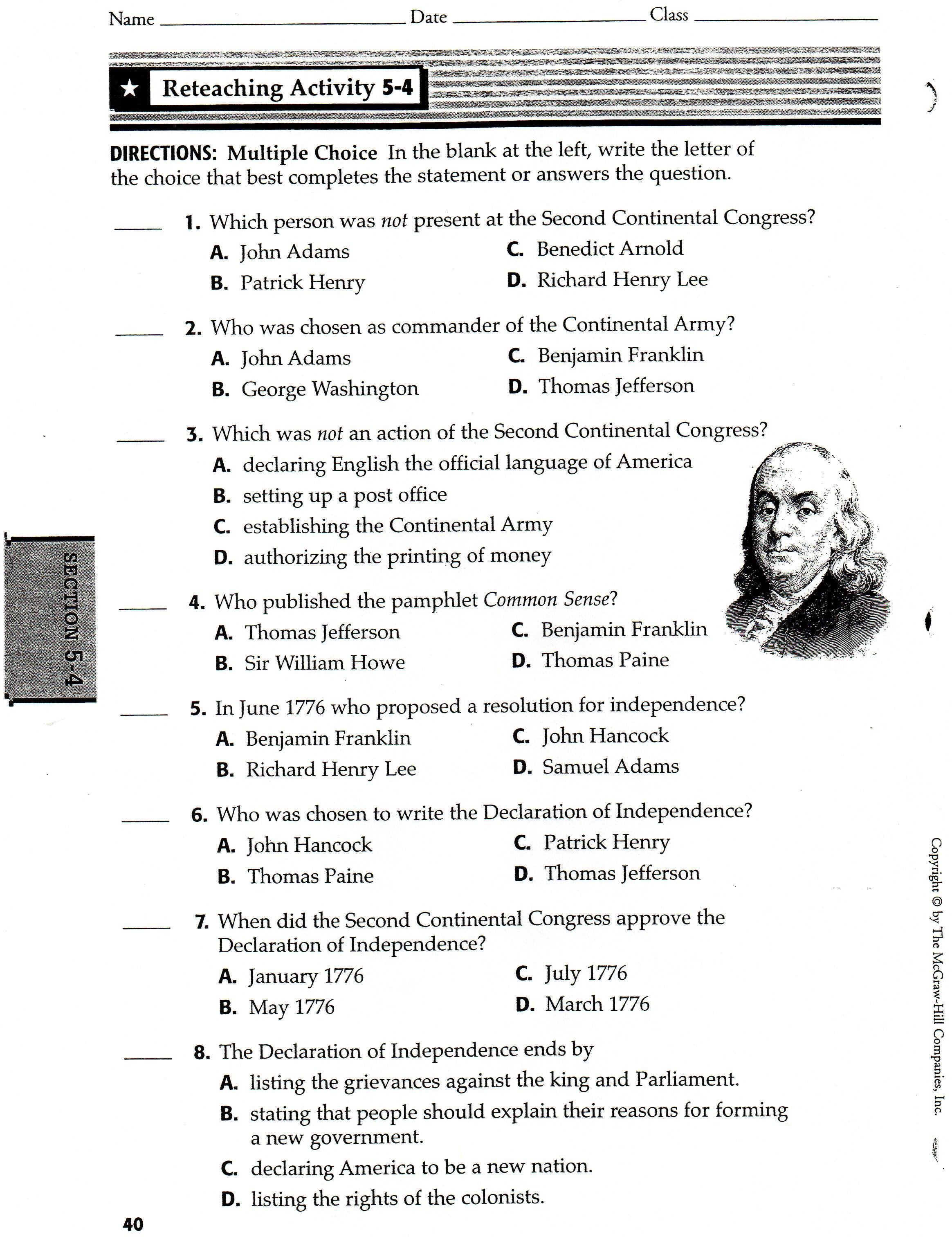 Worksheet Declaration Of Independence Worksheets