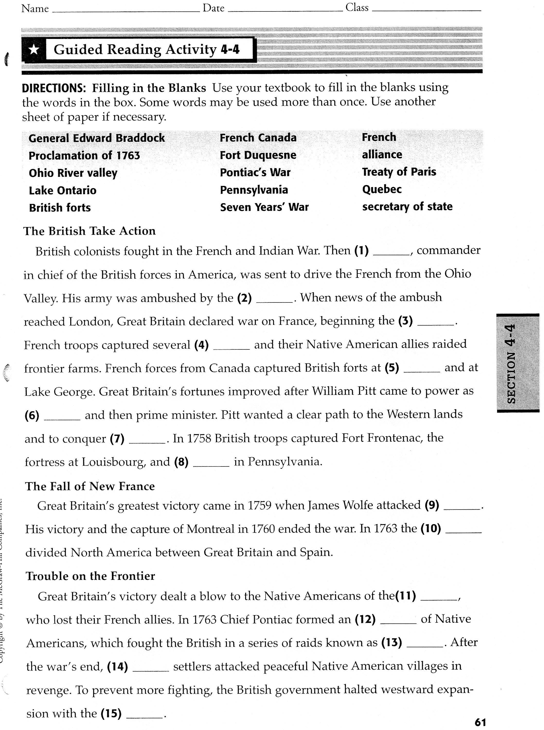 Worksheet French And Indian War Worksheets Worksheet Fun