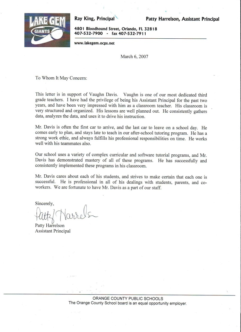 letter of recommendation for after school program inviview