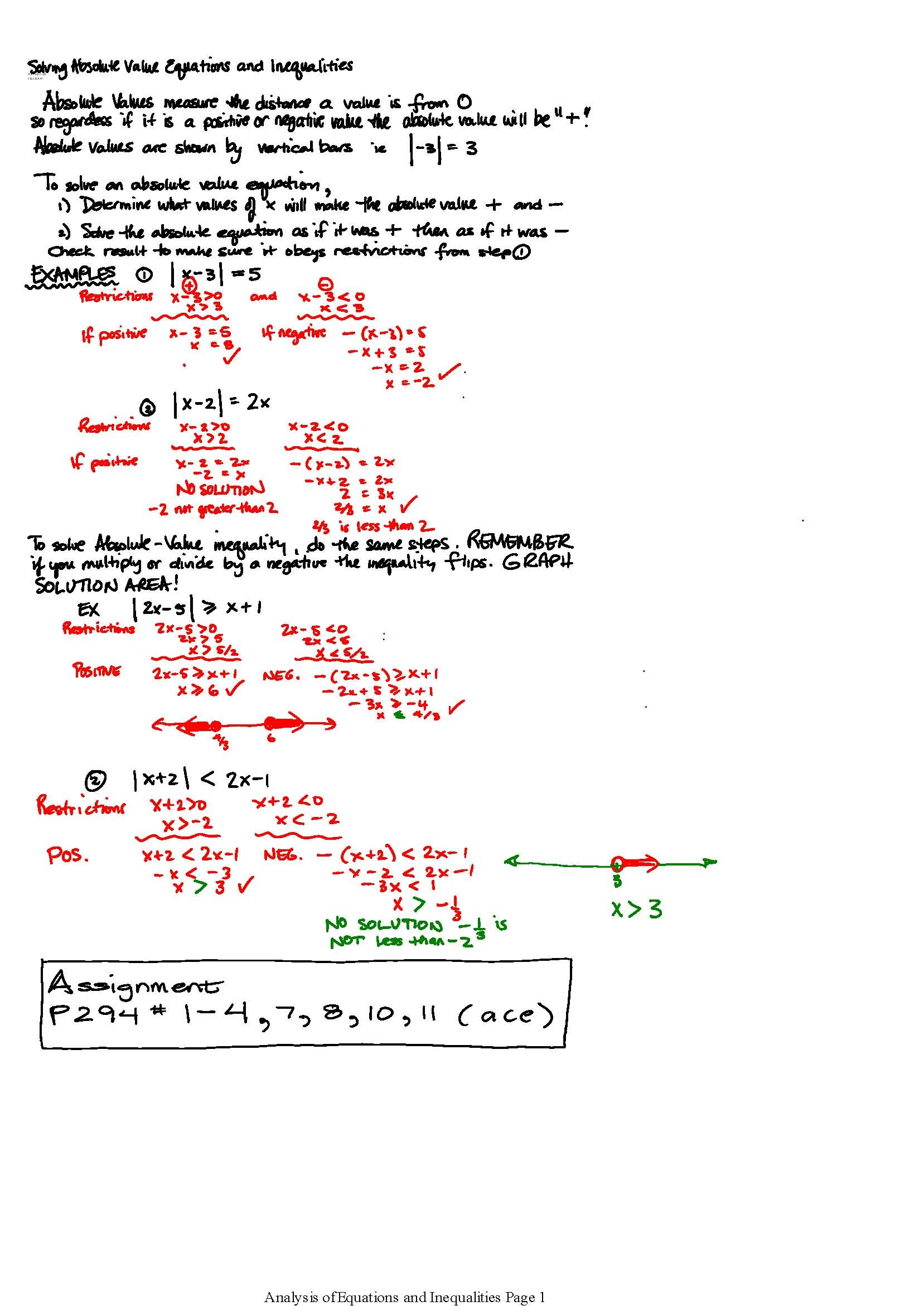 Worksheet Section 1 4 6b Solving Absolute Value Equations