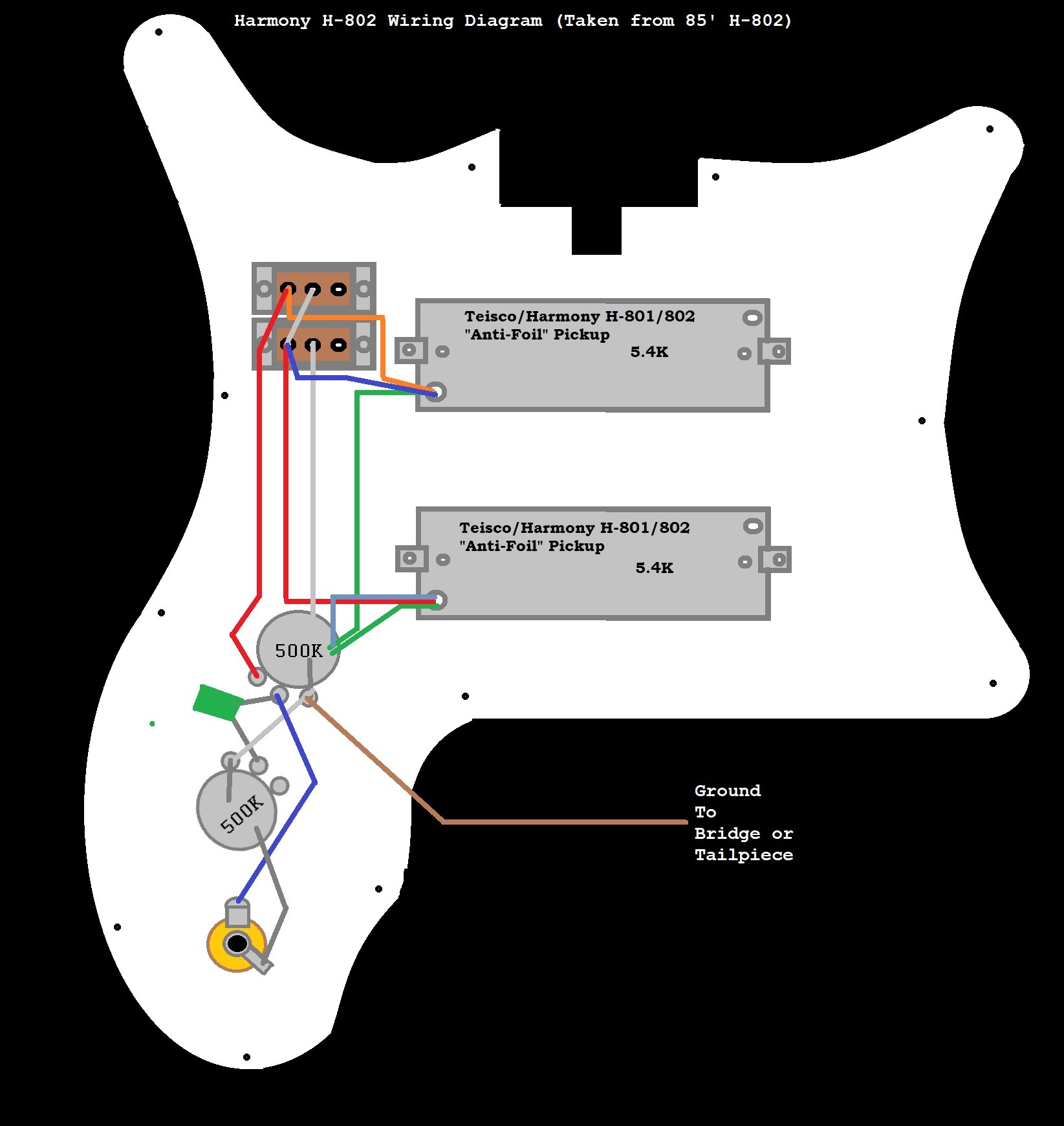On My Harmony Electric Guitar Wiring Diagram