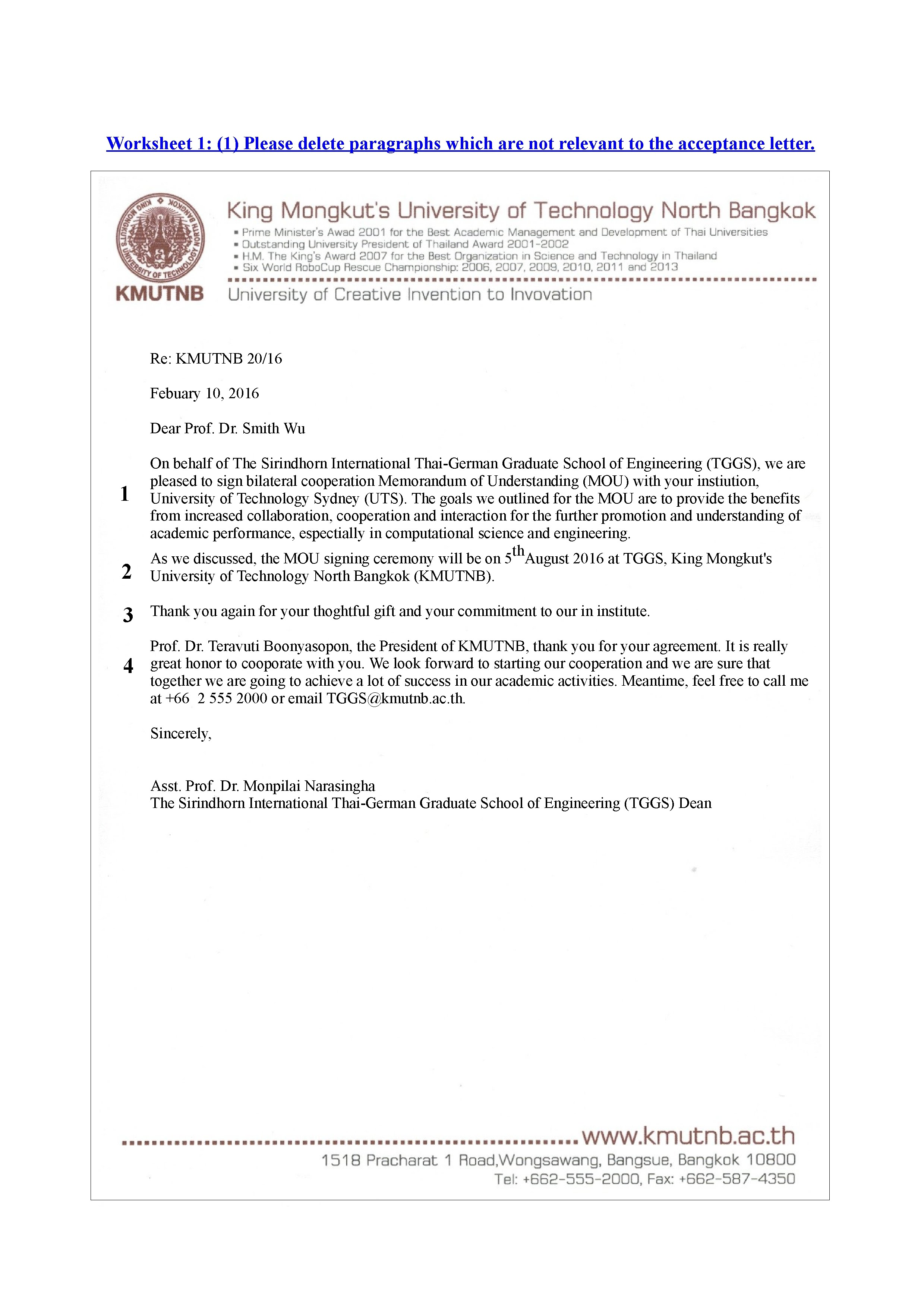 Worksheet 1 Acceptance Letter And Refusal Letter
