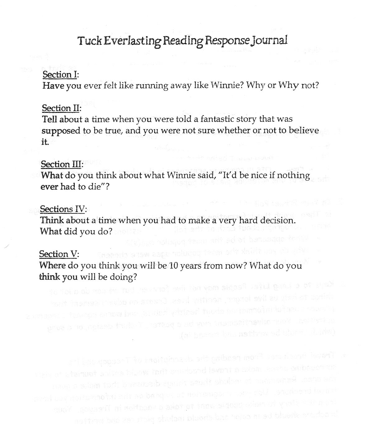 28 Tuck Everlasting Compare Book And Movie Worksheet