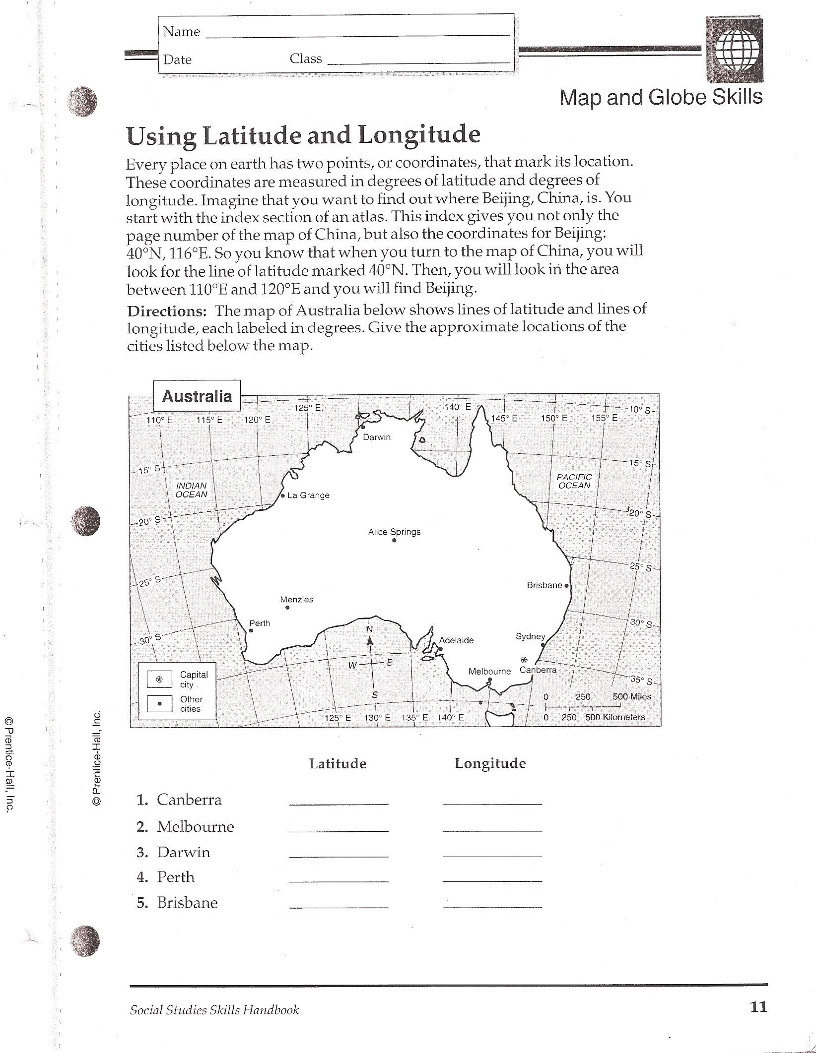 Latitude And Longitude Minutes Worksheet