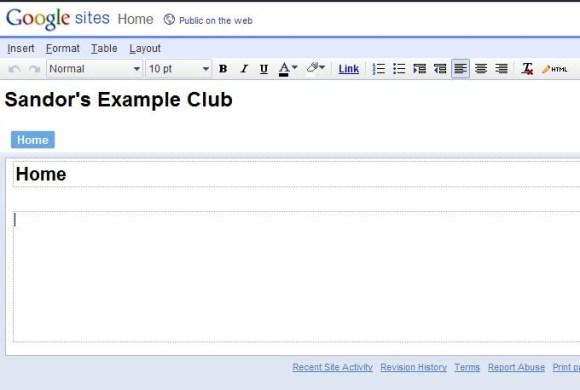 Step 4: Begin to edit your Home Page - Sandor's Example Club
